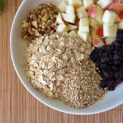 Overnight Apple Raisin Walnut Crockpot Oatmeal