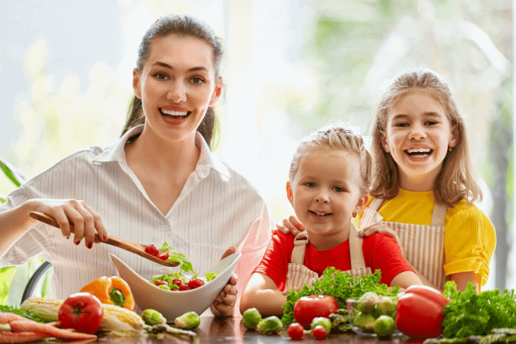 Mom and kids with healthy foods
