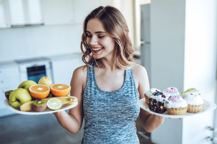 image of woman with fruit and pastries